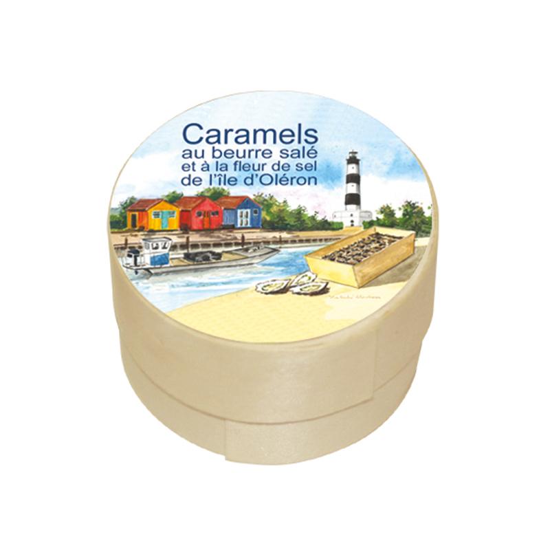Boîte Ronde Caramels au Beurre Salé et à la Fleur de Sel de l'île d'Oléron