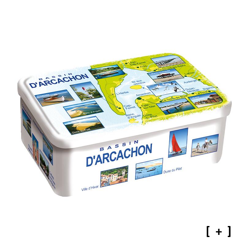 """Boîte Sablés """"Carte Bassin D'Arcachon"""""""