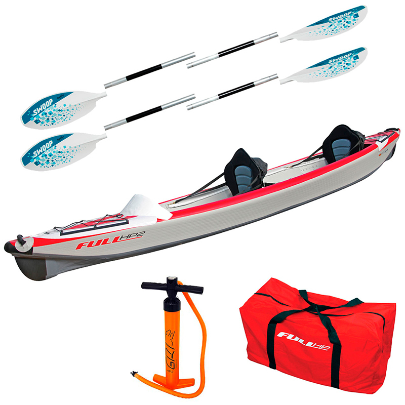 Pack Kayak Full HP 2 Personnes Gonflable + Accessoires - Blanc / Rouge