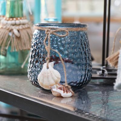 Photophore en verre avec coquillages (3)