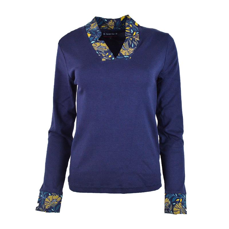 T-shirt à col fleuri Armor-Lux  76815