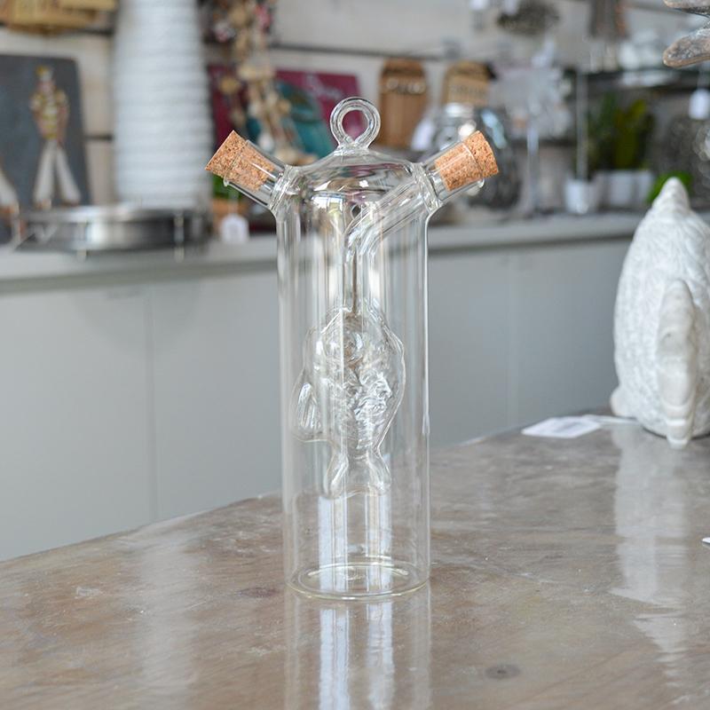 Huilier Vinaigrier en verre avec poisson soufflé