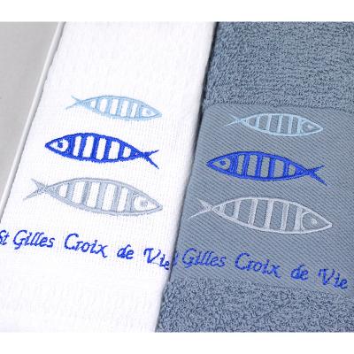 """Coffret de 2 torchons Saint Gilles Croix de Vie """"3 poissons"""" (4)"""