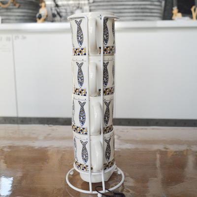 """Tasses sur support métal collection """"Nautilus"""" (4)"""
