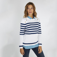 Pull marin col bouton...