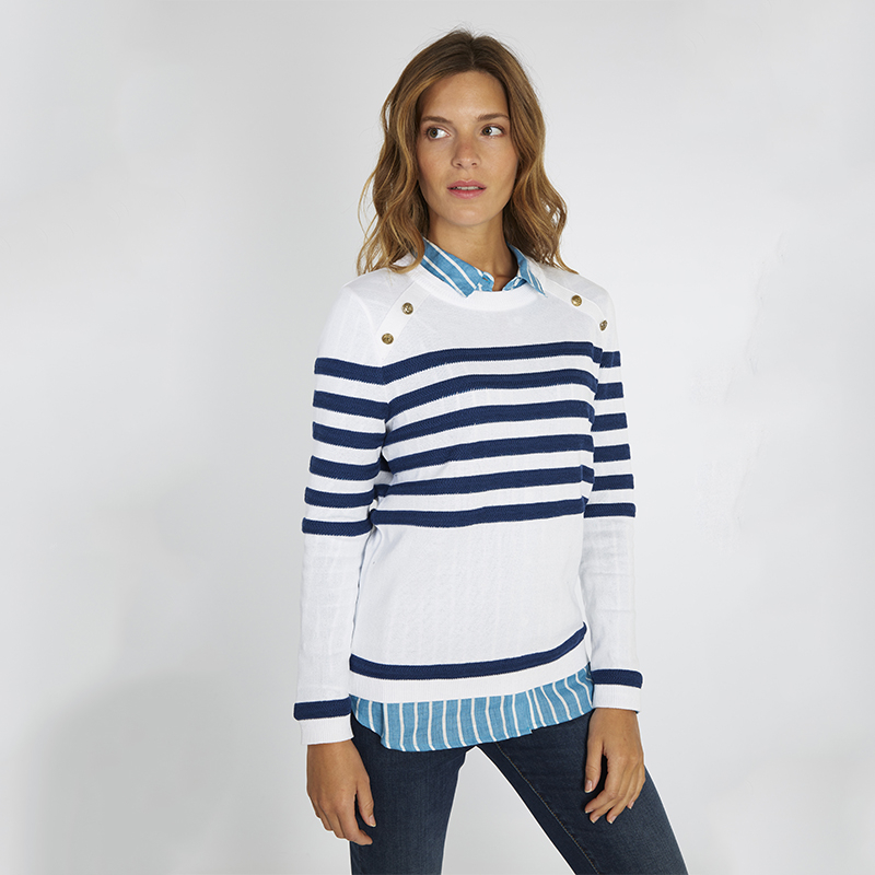 Pull marin col bouton Armor-Lux