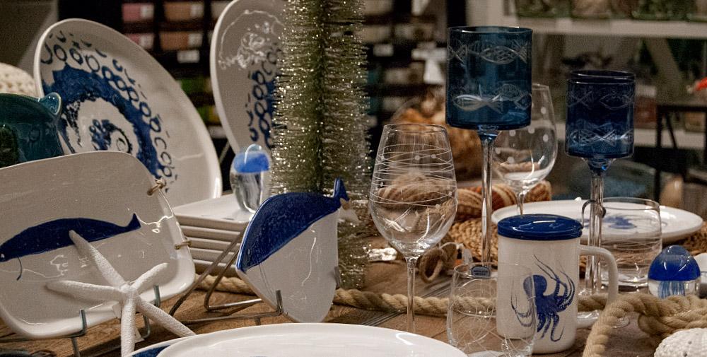 table décorée poissons, poulpe...